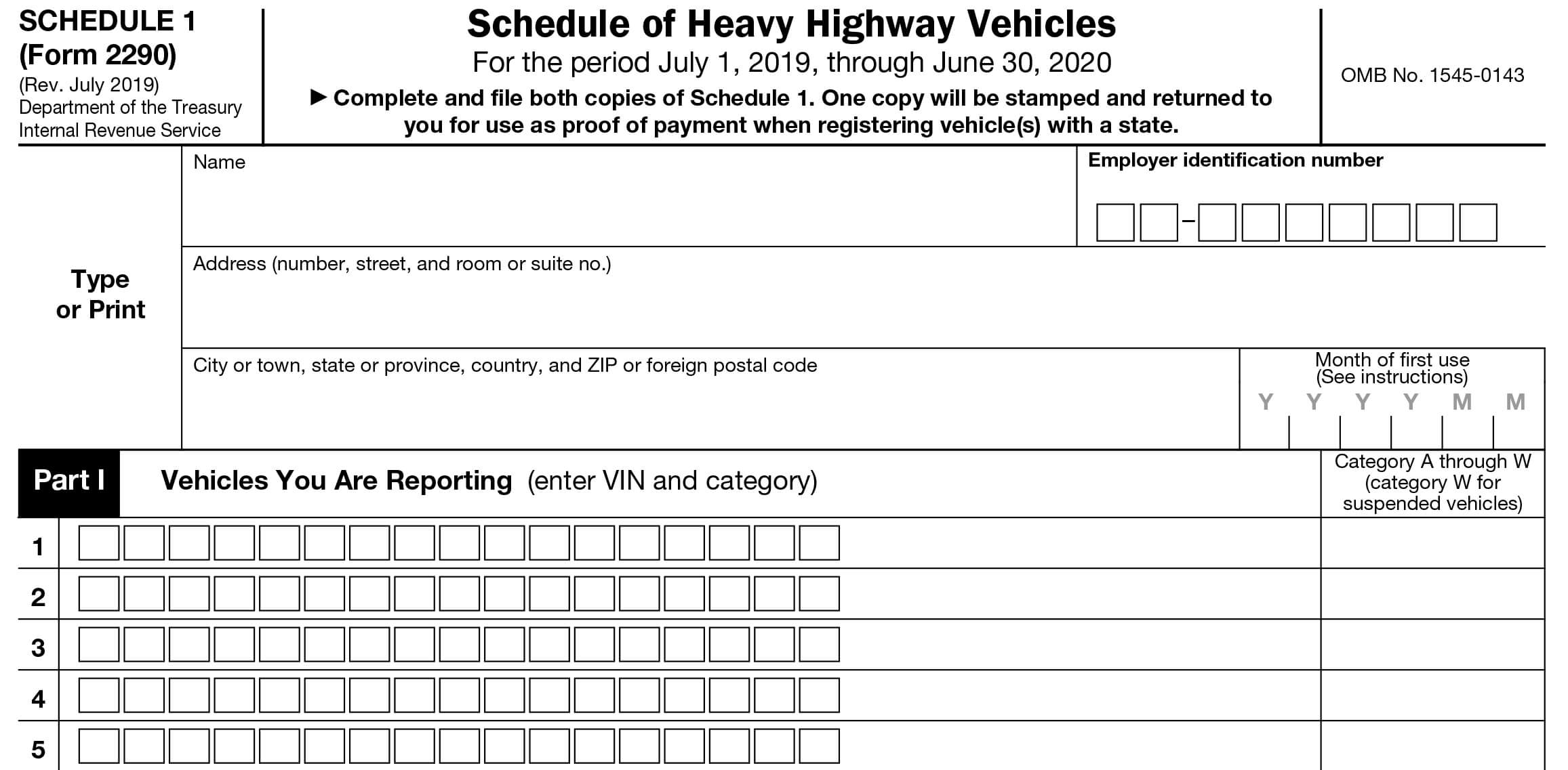 IRS 2290 Schedule 1, proof of HVUT payment