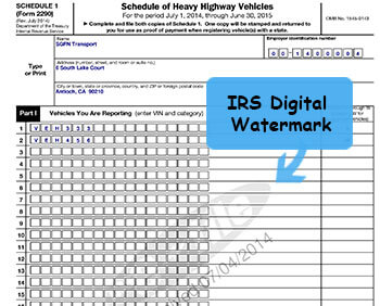 sample 2290 form  Irs 13 payment